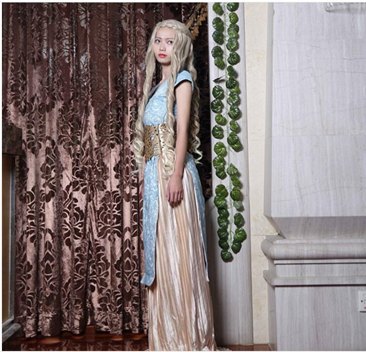 Free Shipping Game Of Thrones Cosplay Costume Daenerys Targaryen Celebrity font b Dress b font Vestidos