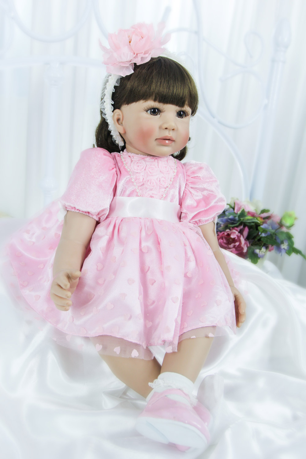 Pursue 24/60 cm New Beautiful Pink Baby Alive Silicone Reborn Toddler Princess Girl Doll Toys for Children Girls Birthday Gifts pursue 24 60 cm adorable lifelike baby alive silicone reborn toddler baby girl doll pink princess girl doll toys for girl gifts