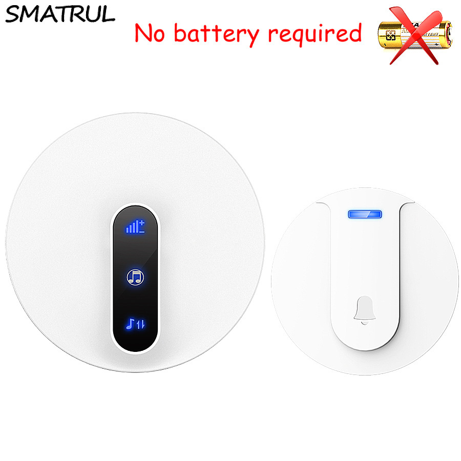 SMATRUL self powered Waterproof Wireless DoorBell 180M range no battery EU plug Door Bell ring chime 1 button 1 Receive 110 220V wireless cordless digital doorbell remote door bell chime waterproof eu us uk au plug 110 220v