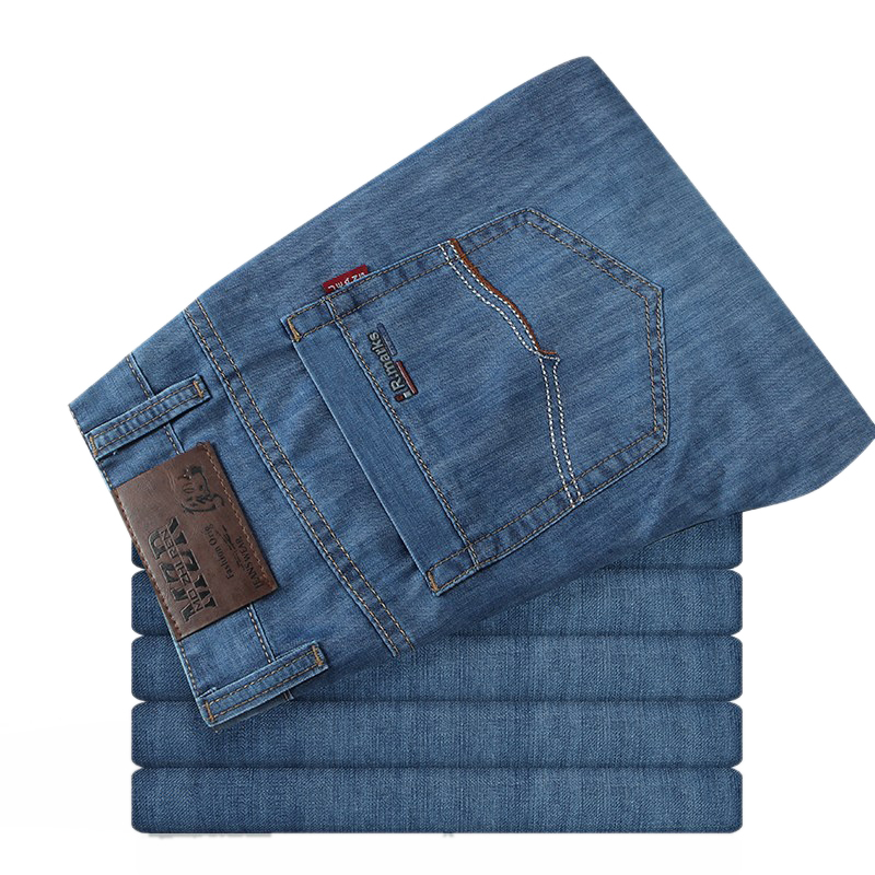 Men Plus Size 32-52 Classic Casual Trousers Male Fashion Lightweight Soft Solid Jeans Homme Style High Quality Biker Denim Pants 17 shark summer new italy classic blue denim pants men slim fit brand trousers male high quality cotton fashion jeans homme 3366