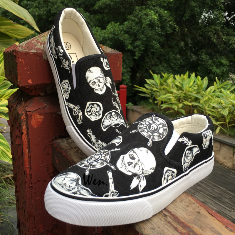Wen Design Custom Skeleton Pirate One-eyed Skull Sailing Rudder Slip On Black Pumps Women Hand Painted Shoes Men Canvas Sneakers wen mexican style skulls totem original design hand painted shoes for men woman slip ons custom canvas sneakers