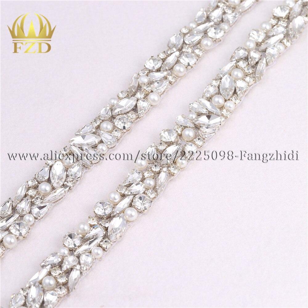 US $100.100 100% OFF10 Yard Jelas Berlian Imitasi Menjahit Manik manik Kristal  Besi Pada Manik manik Bordiran Panjang Hiasan untuk Pernikahan Gaun