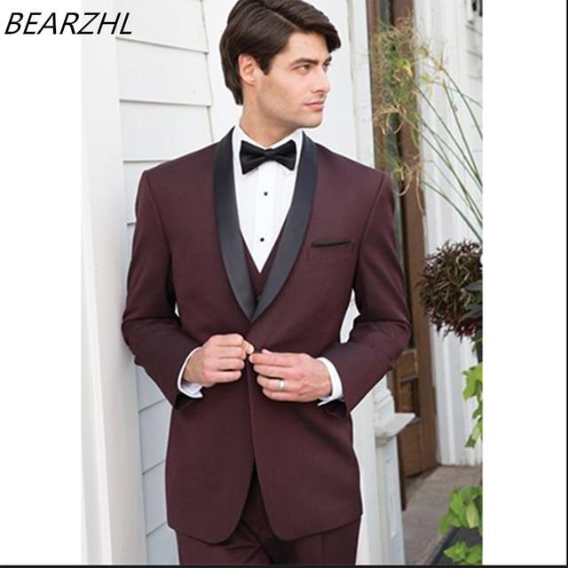 030b1efc64a0e Moderno slim fit trajes hombres Borgoña smoking chaqueta tres piezas trajes  para la boda formal 2018