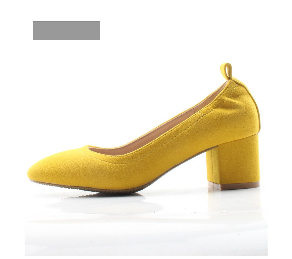 Shoes Women Genuine Leather Fashion Office and Career Rounded Toe 2-inch Block Heel Fashion Office Lady Pumps Size 34-41, K-307 58