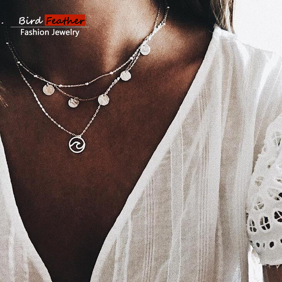 Silver color Choker Necklace for women Long round Tassel Pendant Chain Necklaces & Pendants Laces velvet chokers Fashion Jewelry
