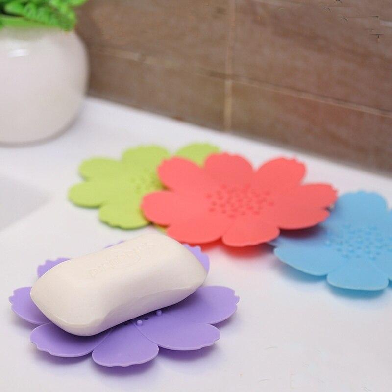 1 Stücke Wohnkultur Kreative Tpr Silikon Blume-förmige Seifenschale Halter Bad Zubehör Schöne Seife Basis Heißer Guter Geschmack