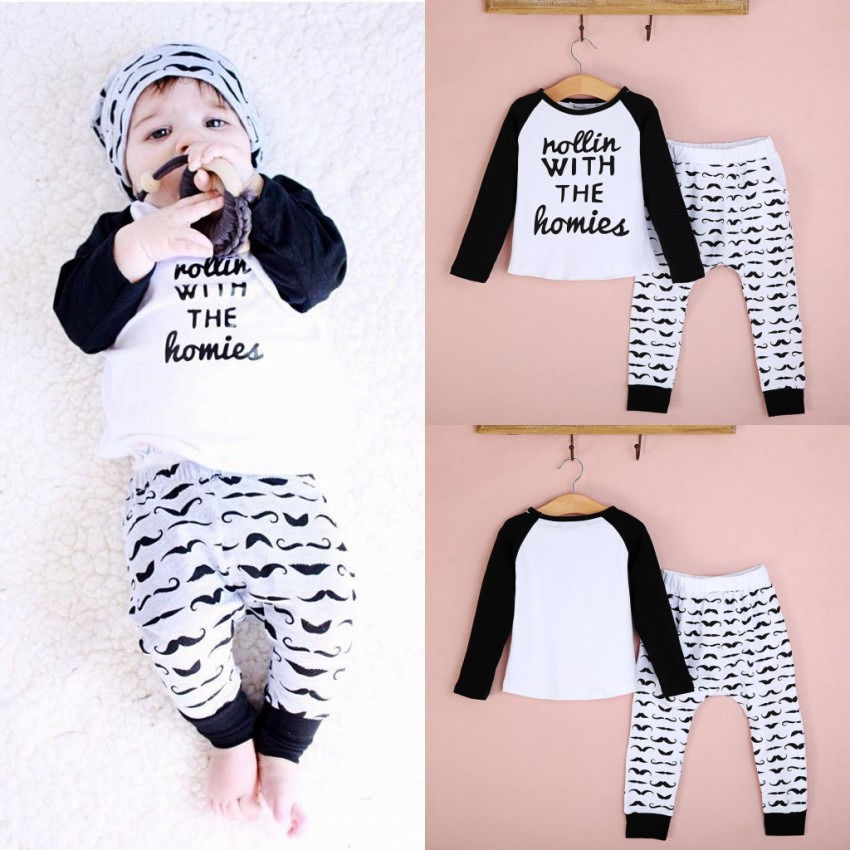 32fdf56a246 2PCS Newborn Baby Boys Spring Autumn Cute Outfits T shirt Top + Pants Kids  Clothing Sets 0~4Y-in Clothing Sets from Mother   Kids on Aliexpress.com ...
