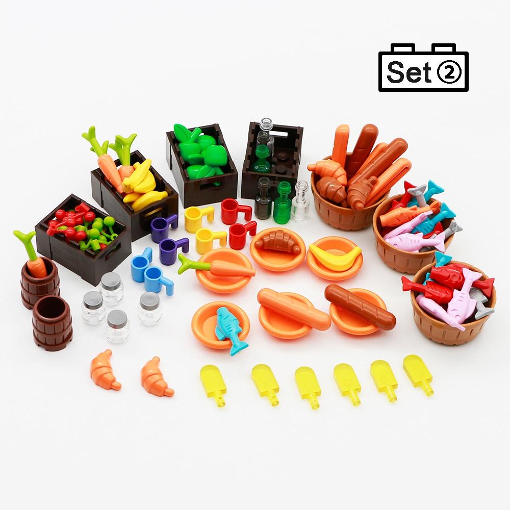 Legoed Food Accessories Friends MOC Building Blocks 110pcs Drinks Fruit Vegetable Bread Fish Bottle City Brick Toys For Children (6)