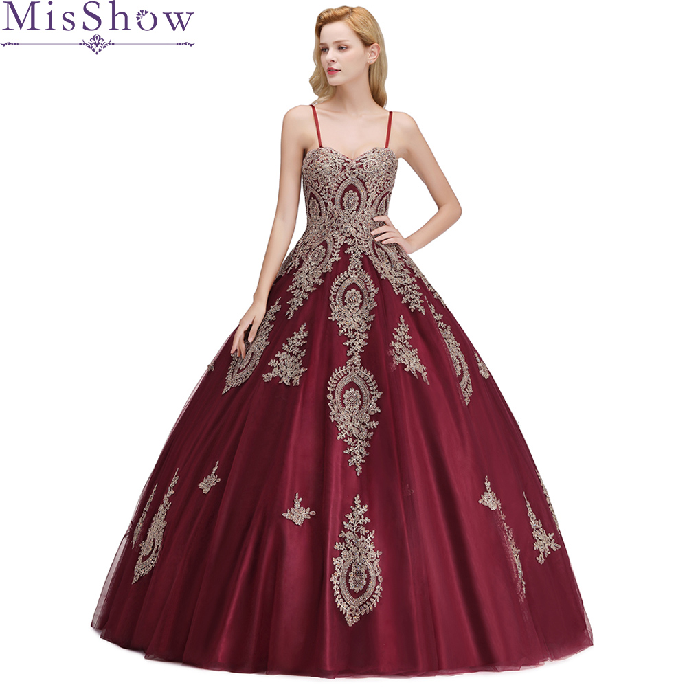 2019 Long Applique   Prom     Dresses   Burgundy spaghetti strap Ball Gown Women Formal Evening Gowns   Dresses   vestido de formatura longo