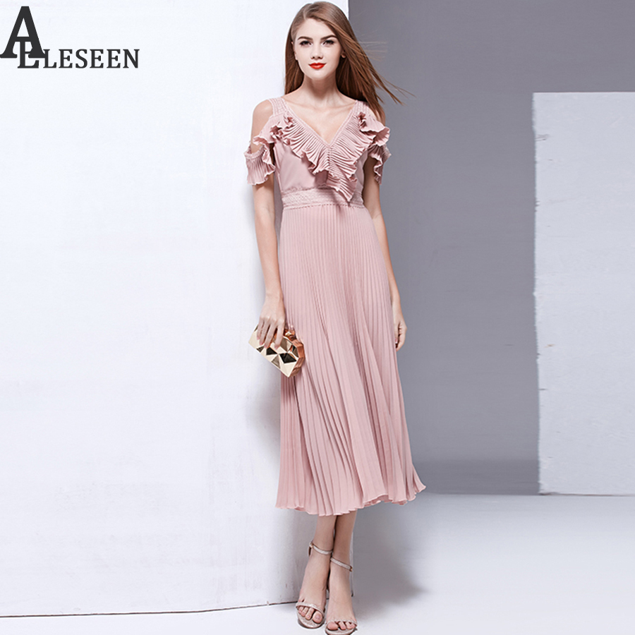 New Arrival Summer Dresses 2017 Fashion High Quality Off The Shoulder Ruffles V-Neck Hollow Out Patchwork Draped Sexy Long Dress