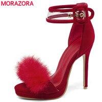 MORAZORA Big size 46 Women sandals fur sexy stiletto high heels wedding shoes summer party prom ladies platform shoes drop ship