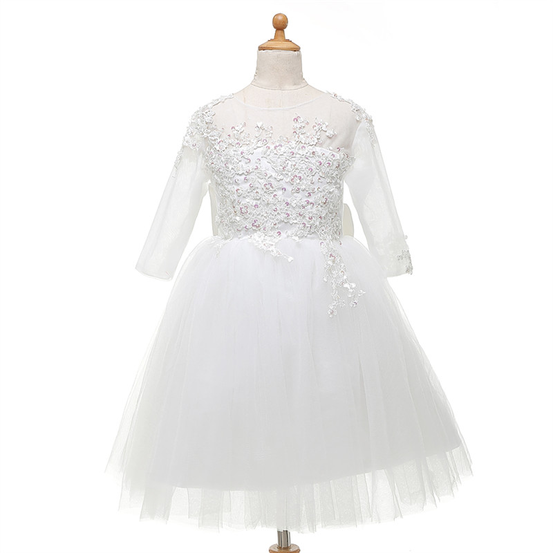Flower     Girls     Dresses   With Short Sleeve NEW Ball Gown Sweetheart Back Puffy Princess Lace   Girls   Holly Communion   Dress