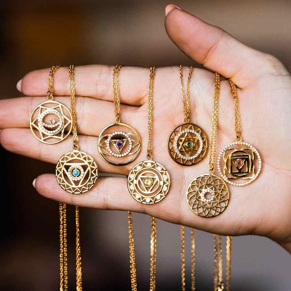 Gold Chakra Necklace long pendant statement necklace women  gold necklace for women gift
