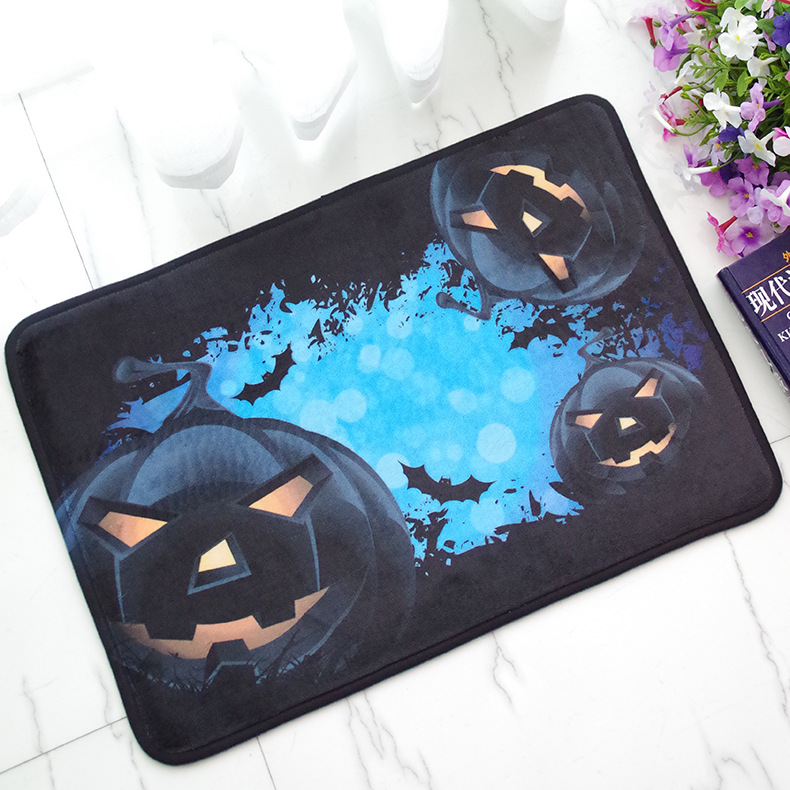 Doormat Halloween Pumpkin Light Printed Floor Carpet Bathroom Kitchen Entrance Non-slip Door Mat 40X60cm Indoor Outdoor Rugs