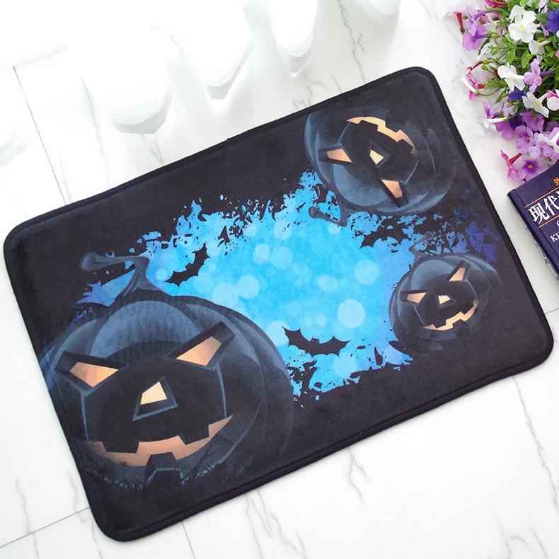 Doormat Halloween Pumpkin Light Printed Floor Carpet Bathroom Kitchen Entrance Non-slip Door Mat 40X60cm Indoor Outdoor Rugs