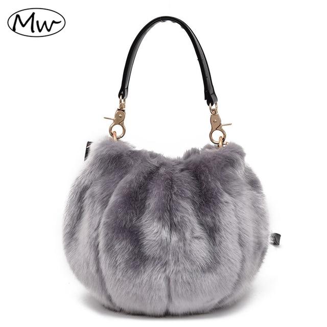 5efedc72f3df Moon Wood 2019 Winter Soft Faux Fur Bag Small Women Fur Tote Bag Warm Plush  Handbag