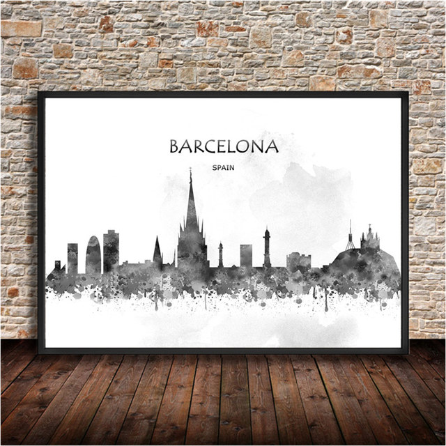 Famous travel city barcelona kraft paper retro poster wall stickers print painting for home living room