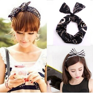 korean baby girl hippie headbands for women rabbit ears headband tiara  bridal hair accessories bow elastic hand band Headwear a13af902807