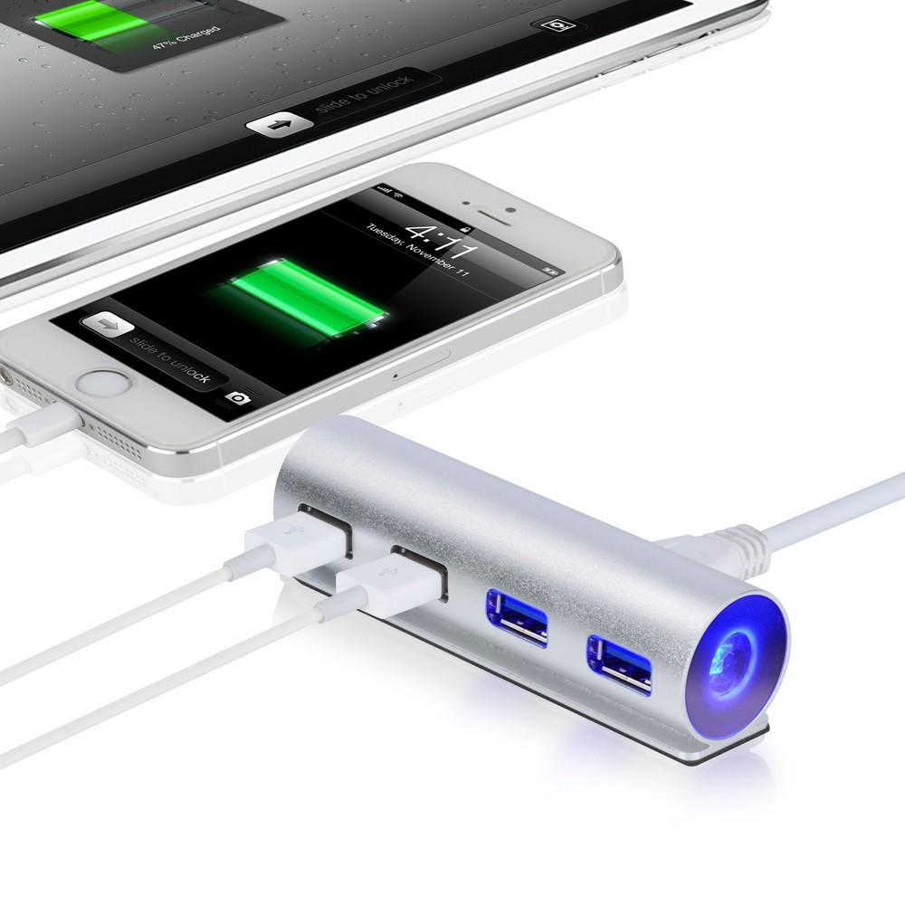 NEW LED Aluminum 4-Ports USB 3.0 HUD Bus-power for iMac Macbook Pro Air Mini Laptop Notebook Desktop PC