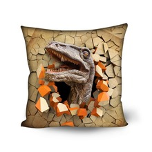 HUGSIDEA Cool Dinosaur Cushion Cover 3D Printing Decorative Pillows Covers Square Cushion Case for Children Seat Pillow Cover