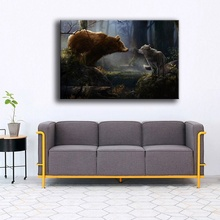 Modern Artwork Home Decor Wall 1 Panel Animals Bear And Wolf Forest Picture HD Print Type Canvas Painting  Framework Or Frameles
