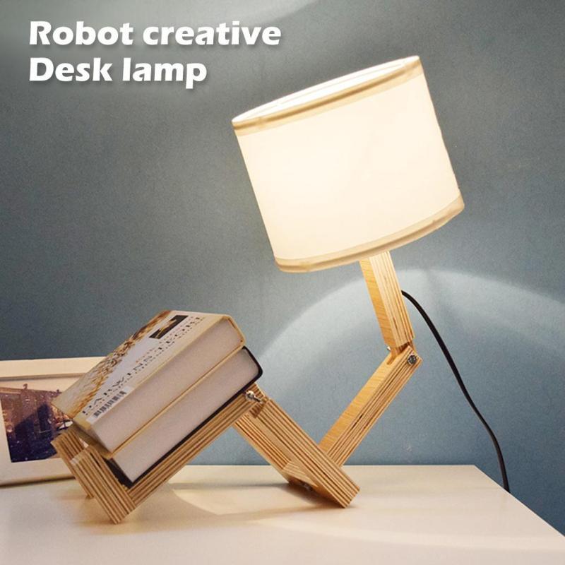 Modern Lovely Robot Shape Wooden Table Lamp E27 Lamp Holder AC 110-240V Parlor Indoor Study Desktop Lighting Bedside Lamps Light new fashion modern e27 metel bedside black silver study lamp wrought iron dimming lamps light lighting fixture free shipping