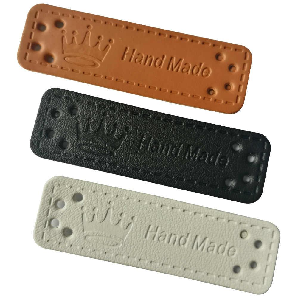 48 stks/partij gemengde kleuren hand made met kroon pu lederen labels voor kleding kroon logo handgemaakte lederen tags voor gift label