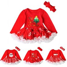Santa Christmas Dress For Kids Girls Winter Clothing