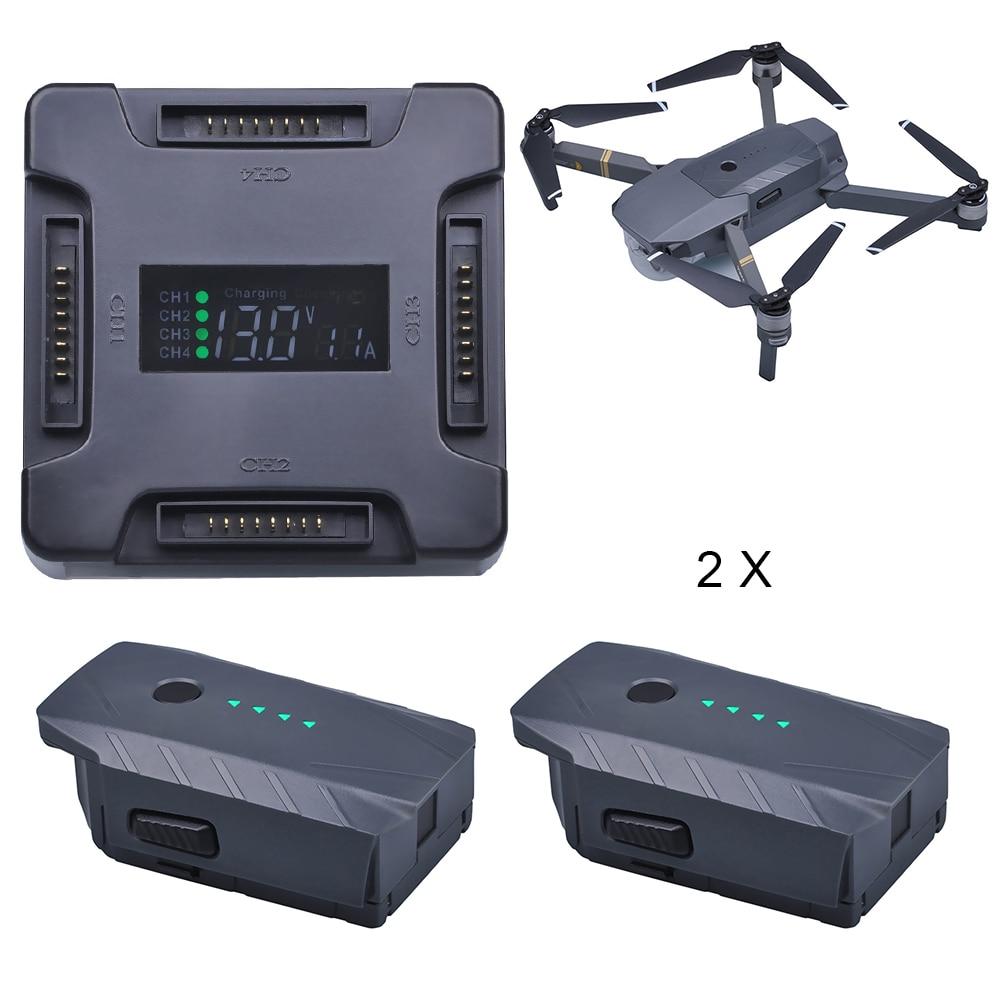 2 Pcs 3830 mAh DJI Mavic Pro Batterie De Remplacement + LCD 4 in1 batterie De Charge Hub pour DJI Mavic Pro Quadcopter 4 K HD Caméra Drones