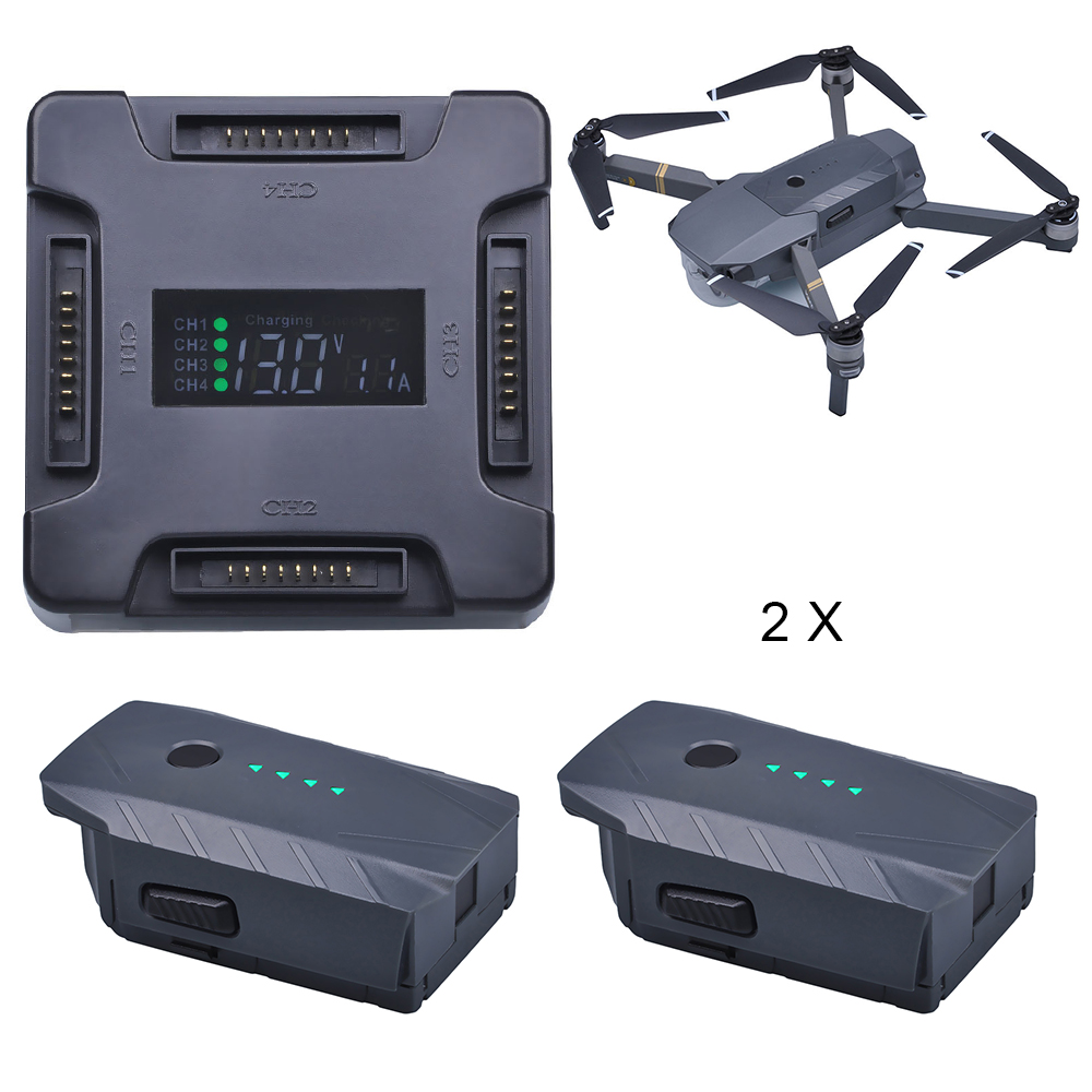 2Pcs 3830mAh DJI Mavic Pro Replacement Battery + LCD 4 in1 Battery Charging Hub for DJI Mavic Pro Quadcopter 4K HD Camera Drones dji mavic pro 4k квадрокоптер бпла черный