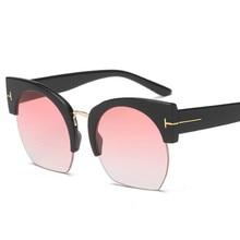 2018 New Sexy Semi-Rimless Sunglasses Women Clear Lens Sun Glasses For Retro Vintage oculos UV400