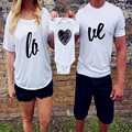 Family Matching Clothes Family Look Mother Father Baby Clothing White Short Sleeve Love Pattern T-shirt Summer Outfit