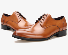 Fashion new Black / Brown tan oxfords mens wedding shoes genuine leather pointed toe dress shoes mens busines shoes
