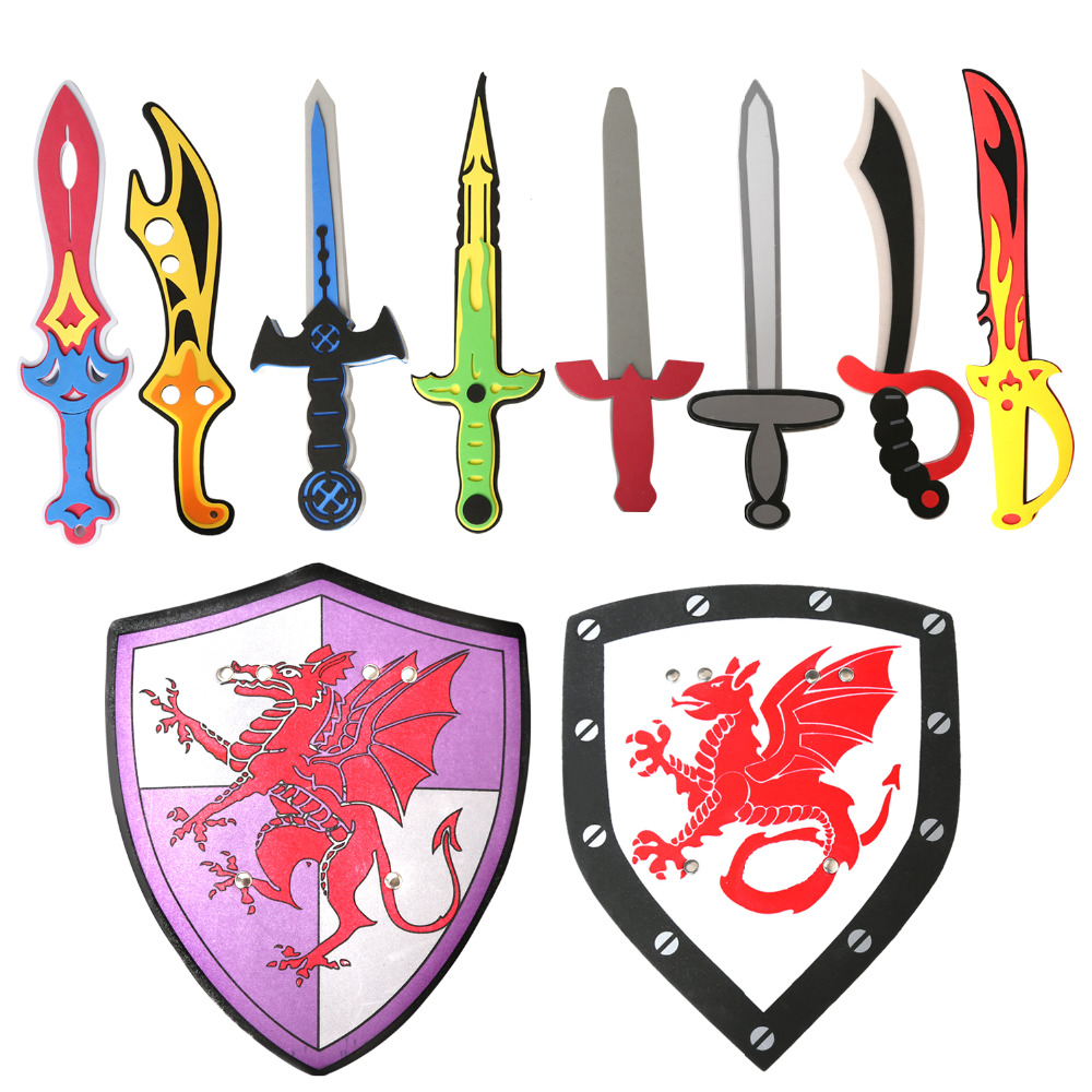 10PCS Assorted EVA Toy Swords Assorted Foam Toy Sword And Shield Ninja Warrior Weapons Toy Set Pretend Playset For Kids