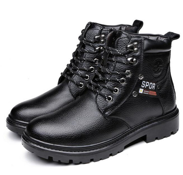 Fashion Military Boots Men Natural Leather Winter Boots Warm Cotton Boots Full Grain Leather Ankle boots Round Toe Snow Shoes