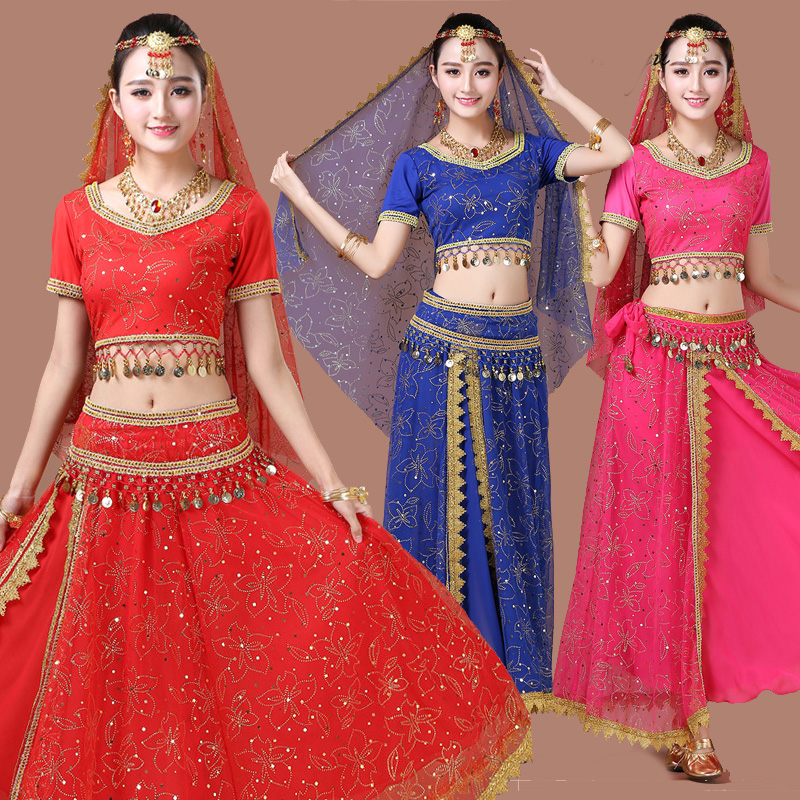 Belly Dance Costumes Short Sleeve Indian Dress Women Sexy Chiffon Bollywood Bellydance Costume Oriental Exotic Dancewear DN1392