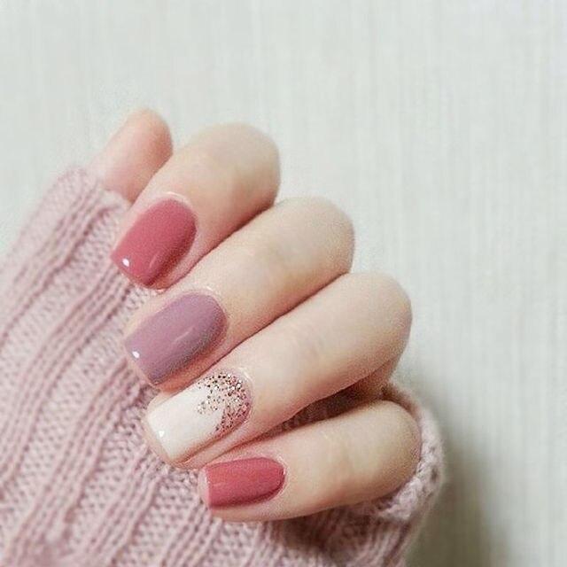 24Pcs Jump Color Pink & Purple Short False Nails With Stickers ...
