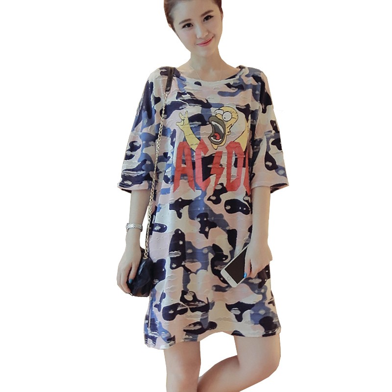 6069511438a5f Camo Summer Dress Vestido Plus Size Women Short Sleeve Letters Face Print Camouflage  Oversized T Shirt Dress Casual Tshirt Dress
