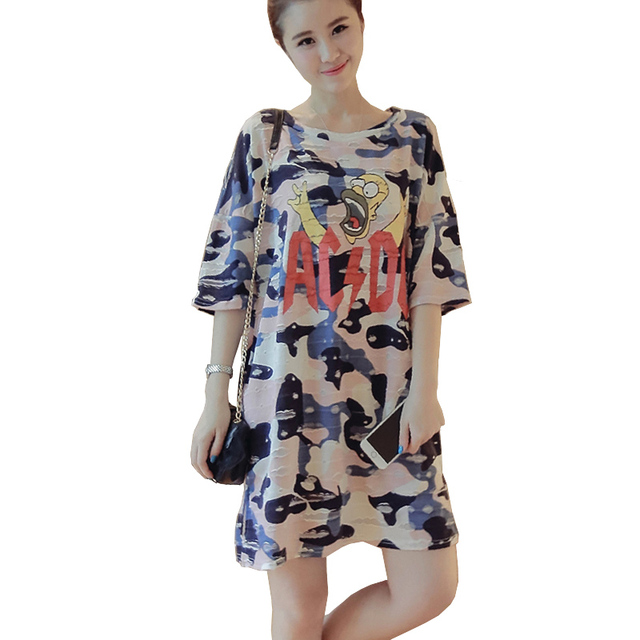 US $18.85 25% OFF|Camo Summer Dress Vestido Plus Size Women Short Sleeve  Letters Face Print Camouflage Oversized T Shirt Dress Casual Tshirt  Dress-in ...