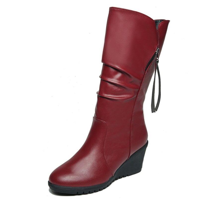 2018 autunno e in inverno pendenza con la versione Coreana del round testa zip laterale tacco alto stivali delle donne di modo vino rosso 1102