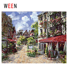 WEEN Town Street Diy Painting By Numbers Abstract Store Oil On Canvas Sunny Day Cuadros Decoracion Acrylic Home Decor