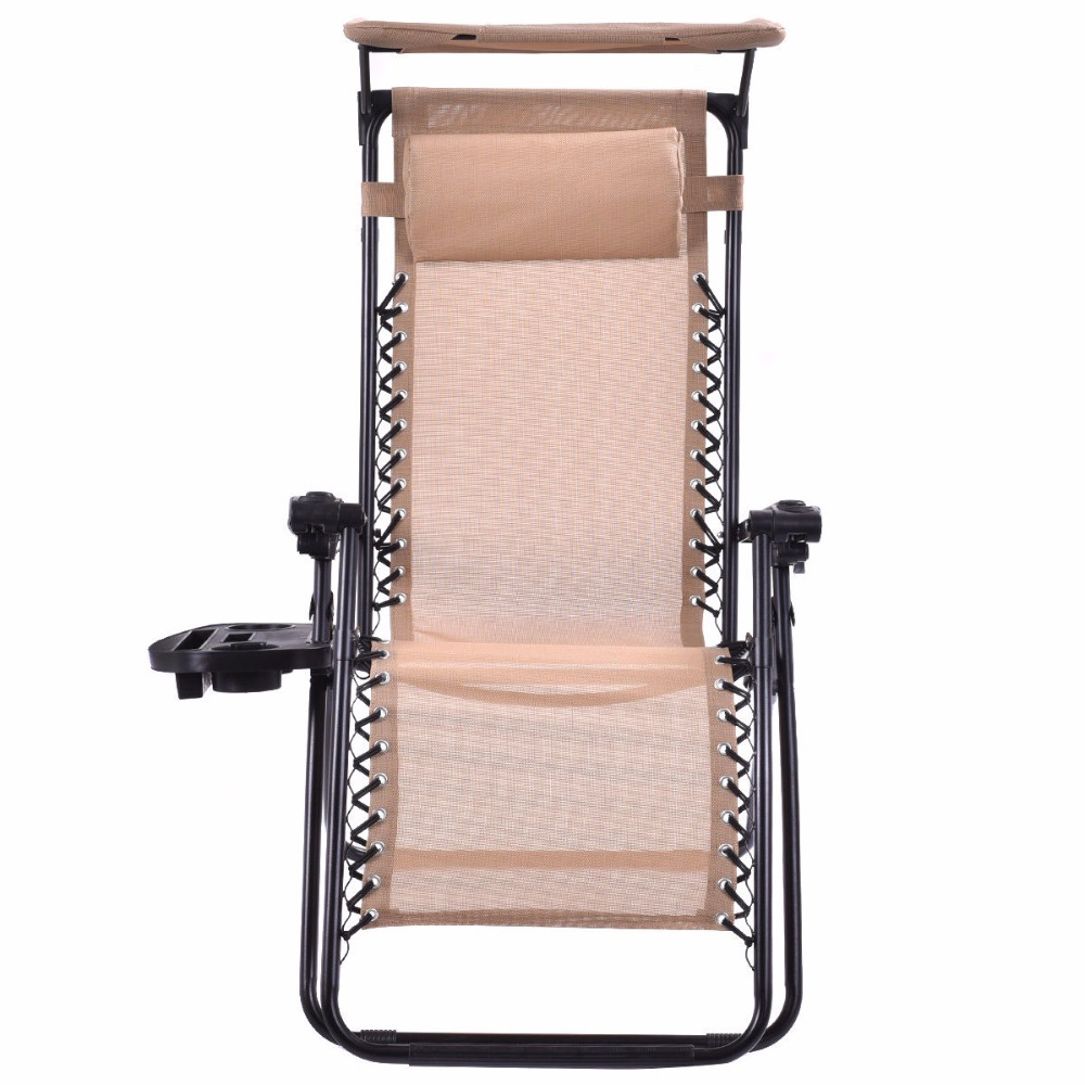 Beige Folding Recliner Zero Gravity Lounge Chair With Shade Canopy U0026Cup  Holder OP3025BE In Beach Chairs From Furniture On Aliexpress.com | Alibaba  Group