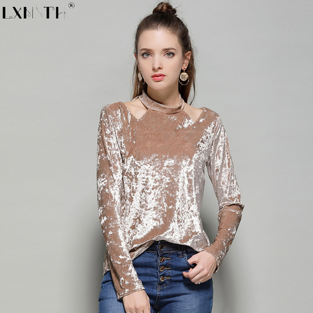 Chemises Shirt Femmes Trous Top Velours Moulante Shirts T Xrcq866n J1KTFcl