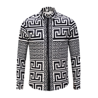 2018 Spring Autumn 3D Shirts For Men Print Triangle And Letter T Pattern Long Sleeve Casual