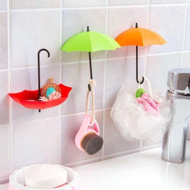 3PCs/SET Umbrella Random Color Wall Mount Hook Key Holder Storage Stand  Hanging Hooks For