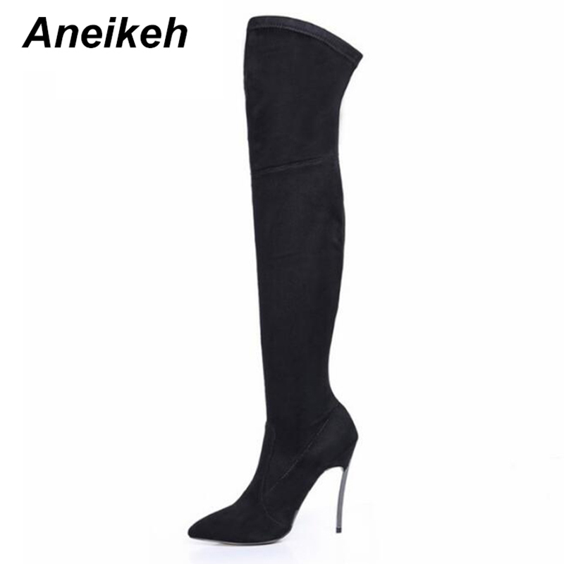 Aneikeh 2018 Autumn Winter Women Boots Stretch font b Slim b font Thigh High Boots Fashion