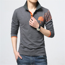 Man Polo-shirt High Quality Fashion Printing Sale Time-limited Full Blends Solid Casual Homme Men Slim Long Sleeve Polo Shirts