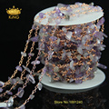 Fashion Rosary Chain New Amethyst Chips Bead Free Form Chains Rose Gold Plated Multi Choice Chain Necklace JD0116