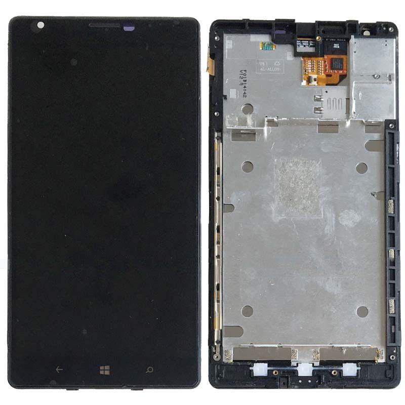 ФОТО New Black For Nokia Lumia 1520 Touch Screen Digitizer Glass LCD Display Assembly + Frame Replacement