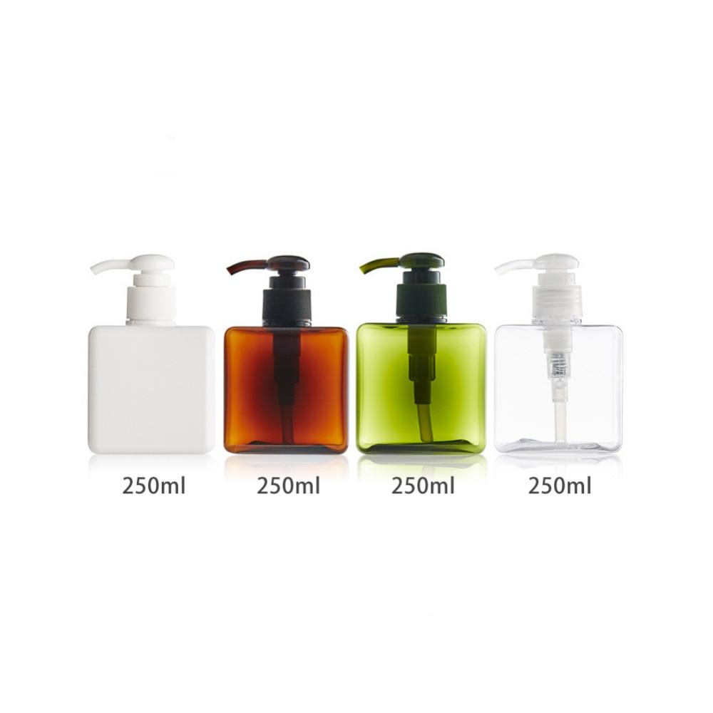 250ml Plast Tomt Tvål Sjampo Pump Kvadrat Split Flaska Lotion Dusch - Hudvårdsverktyg